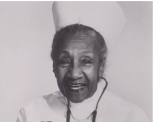 Alberta Hunter in her nurses uniform at Goldwater Memorial Hospital before her retirement in 1977