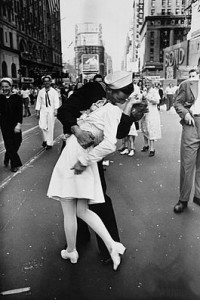 Photo by Alfred Eisenstaedt, taken on V-J Day, 1945 (from Life Magazine).